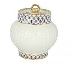 Lomonosov Porcelain Sugar Bowl Wave Cobalt Net 13.9 oz/390 ml
