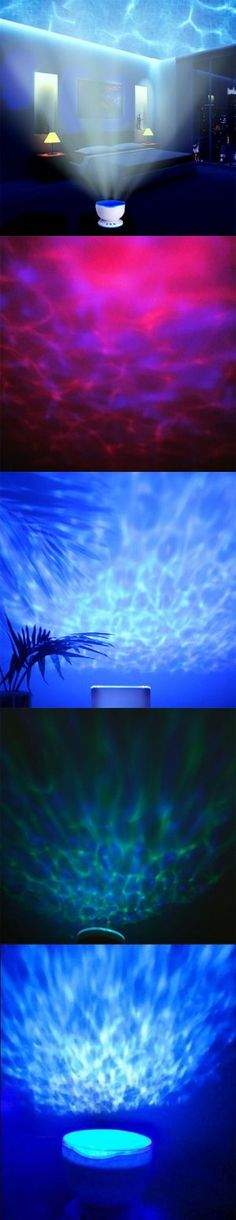Project the ocean onto the ceiling above you while playing your favorite music. This Ocean Wave Night Light Projector rotates through beautiful waves of bl