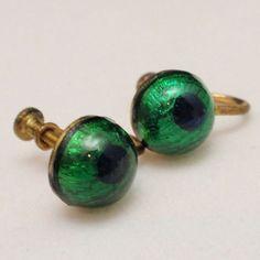 Peacock Eye Glass Earrings Vintage Screwbacks