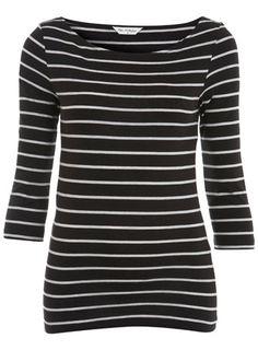 Black stripe 3/4 sleeve top - Tops - Apparel - Miss Selfridge US - StyleSays