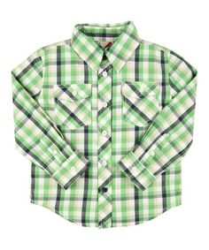 Look what I found on #zulily! Green Plaid Button-Up - Infant, Toddler & Boys #zulilyfinds