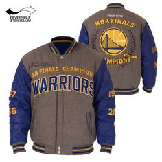 Golden State Warriors JH Design Men's Embroidered Commemorative Champs Reversible Melton Jacket - Grey/Royal