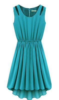 Turquoise Sleeveless Hollow Shoulder Pleated Dress - Sheinside.com