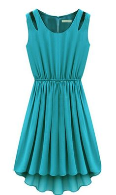 Turquoise Sleeveless Hollow Shoulder Pleated Dress