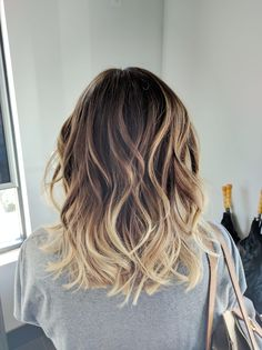 Ombre Balayage Color Melt Blonde Highlights Long Bob Medium Length Hair Cut Beachy Bohemian Waves - Aveda Full Spectrum Color - Salon Dulay Aveda Windermere, Fl