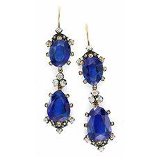 FD GALLERY   Rare & Vintage   A Pair of Antique Burmese Sapphire and Rose-cut Diamond Ear Pendants, 19th Century