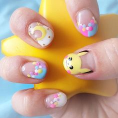 My new pastel Pikachu nails by ! Wanted to look properly groomed for Comic Con! I'll be running around reporting as well as modeling in the Her Universe fashion show! Trendy Nail Art, New Nail Art, Cute Nail Art, Cute Nails, Purple Manicure, Pastel Nails, Pink Nails, Pastel Pink, Pedicure Designs