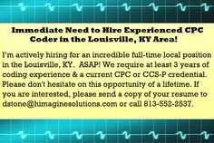 Hiring for Local Profee Coder in the Louisville, KY. Medical Coding Jobs, Healthcare Jobs, 15 Years, Trauma, Resume, Health Care, At Least, Positivity, 15 Anos