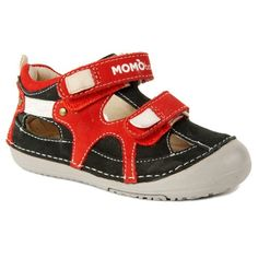 Momo Baby Boys Leather Sandals - Thomas Black/Red (First Walker & Toddler), Toddler Boy's, Size: 4 M US Toddler First Walkers, Baby Boy Shoes, Navy And Brown, Pink Shoes, Toddler Boys, Leather Sandals, Boy Outfits, Red Leather, Kids Footwear