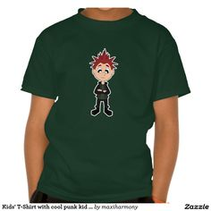 Kids' T-Shirt with cool punk kid cartoon