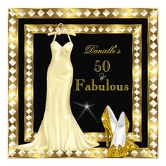 Retro Glamour Hollywood Fabulous 50 Gold Deco 2 Personalized Announcements