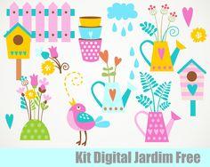 Dicas, Truques e Silhouette : Kit Digital Jardim Grátis para baixar