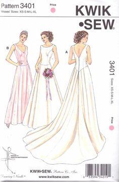Kwik Sew Sewing Pattern 3401 Misses Sizes XS-XL (approx. 8-22) Wedding Bridal Gown Train