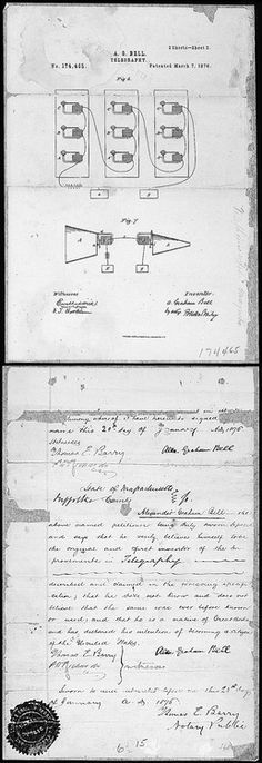 Alexander Graham Bell's original telephone patent drawing and oath, March 7, 1876.