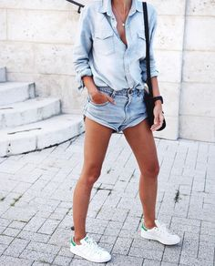 Summer outfit. Chambray tee and blue denim shorts. Stan Smith white sneakers.