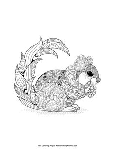 Fall Coloring Pages EBook Zentangle Squirrel PagesPrintable Adult PagesAnimal