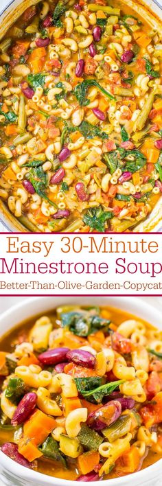 Easy Minestrone Soup (Better-Than-Olive-Garden-could be thm e if i use dreamfields. Copycat) - Homemade is always better and this soup is amazing! The best minestrone ever! Perfect for busy weeknights and it's healthy! Vegetarian Recipes, Cooking Recipes, Healthy Recipes, Easy Soup Recipes, Pasta Recipes, Free Recipes, Chicken Recipes, Clean Eating, Healthy Eating