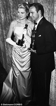 Grace Kelly donned a mint satin dress made by legendary costume designer Edith Head in 1955 to collect her gong for Country Girl