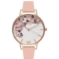 Olivia Burton 'Enchanted Garden' floral print Big Dial watch (£99) ❤ liked on Polyvore featuring jewelry, watches, pink, oversized watches, heart shaped watches, butterfly jewelry, pink dial watches and olivia burton