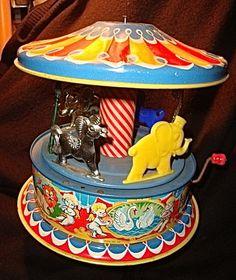 Vintage 1951 - Mattel Tin Litho Circus Carousel Music Box Toy