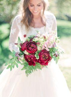 Organic Italian Castle Inspired Marsala Wedding Ideas | Connie Whitlock Photography | marsala peony bouquet