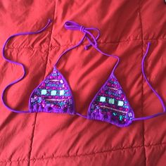 Purple Beaded Victoria's Secret Bikini Top ♡only worn once! All beads firmly attached ♡no padding  ♡no trades! Victoria's Secret Swim Bikinis