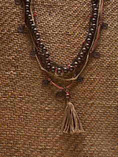 boho tribal necklace long stones necklace with barrel striped agate beads gunmetal chain rope necklace earth tones layering necklace