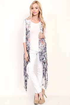 FLORAL PATTERN SHEER COVERUP VEST