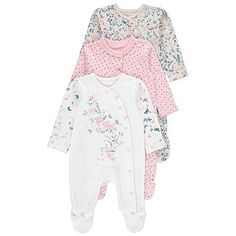 3 Pack Assorted Print Sleepsuits | Baby | George
