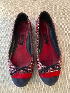 7d8345d5a1e7b CH Carolina Herrera Tweed & Suede Flats SZ 39 #fashion #clothing #shoes  #accessories #womensshoes #flats (ebay link)