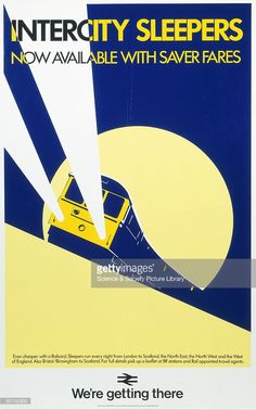 Poster produced for British Rail (BR), Central Advertising Services (CAS), showing an intercity sleeper train travelling by night, with the full moon seen in the background. Printed by Cancol Ltd.