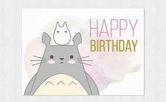 Totoro Happy birthday's card  My neighbor Totoro  di Cloudreams
