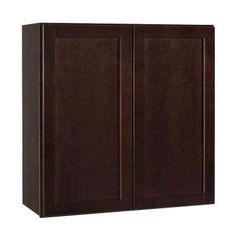 Shaker Assembled 30x30x12 in. Wall Kitchen Cabinet in Java