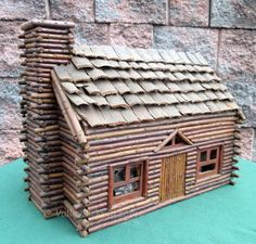 EXCEPTIONAL Antique Folk Art Christmas Rustic LOG CABIN Childs Doll House.