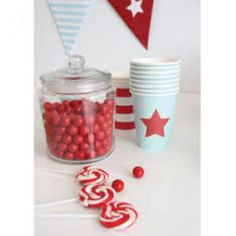 Sambellina blue with red star paper cups! This classic and sweet style is designed to dress up a party table beautifully without breaking the budget.  #partyware #partycups #cups #event #styling #partyshop #partydecor #firstbirthday #wedding #engagement #bridalshower #babyshower #christening #teaparty #partytheme #paper #eventplanning #designerkids #designerbaby #homewares #designer #style #love #food #partyinspo #littlebooteekau