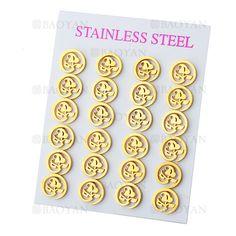 aretes sencilla de flor de dorado en acero inoxidable-SSEGG464680