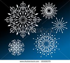 stock vector : beautiful crystal snowflakes 5 designs