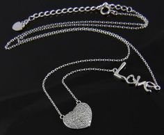 New 14K White Gold Cubic Zirconia Pave Heart Love Pendant Chain Necklace NWOT in Jewelry & Watches, Fashion Jewelry, Necklaces & Pendants   eBay