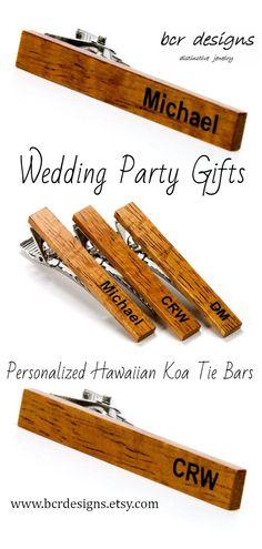 e79d87e46882 Wood Tie Clip, Personalized Hawaiian Koa Tie Bar Wedding Party Gift for  Groom & Groomsmen, 5th Anniversary Gift for Husband, Boyfriend