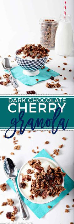 Start the morning with Dark Chocolate Cherry Granola. Gluten free, vegan and low sugar, this granola makes a tasty breakfast or snack. Toss rolled oats and pecans in unsweetened cocoa powder, then coa (Dark Chocolate Granola) Best Breakfast Recipes, Brunch Recipes, Snack Recipes, Dessert Recipes, Vegetarian Breakfast, Sweet Breakfast, Breakfast Ideas, Muesli, Crockpot