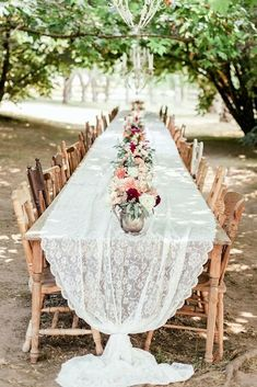 cheap boho decor bohemian long table with vintage chairs and lace tablecloth oly. cheap boho decor bohemian long table with vintage chairs and lace tablecloth oly photography wedding Wedding Pews, Chic Wedding, Wedding Dresses, Wedding Flowers, Dream Wedding, Casual Wedding, Long Table Wedding, Rustic Boho Wedding, Wedding Hair