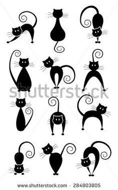 Illustration Vector, Graphic Design Illustration, Vector Art, Illustrations, Art Clipart, Cat Silhouette Tattoos, Black Cat Silhouette, Silhouette Art, Black Background Images