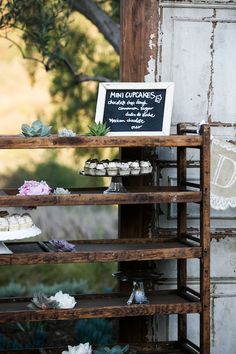 Dessert Display at Southern California Wedding with Found Vintage Rentals, Jan Garcia Photography, Swellegant, and Inviting Occasion