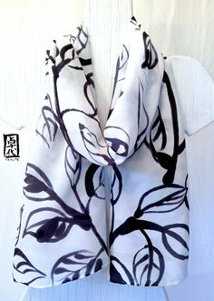 Black Silk Scarf Hand Painted Zen Leaves Sumi by SilkScarvesTakuyo, $120.00