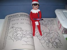 coloring pictures in a Christmas coloring book. im def. getting my class an elf on the shelf for the christmas season !!