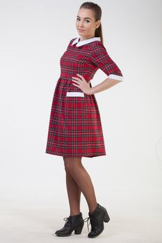752554a6d4ef Christmas red plaid dress women Cute womens dress Red tartan dress women  Plaid holiday dress women C