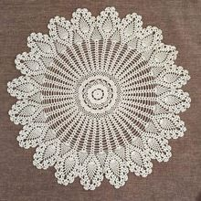 "$11.57!!!     Table Topper Flower Tablecloth 32"" Crochet Lace Round Cloth Cotton Doilies Cover For Wedding Home Decor Beige/White(China (Mainland))"