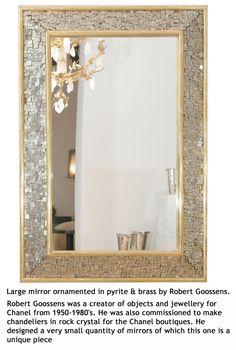 Pyrite and Brass Mirror designed by Robert Goossens Interior Design Inspiration, Decor Interior Design, Interior Decorating, Brass Mirror, Mirrors, Mirror Mirror, Mirror Ornaments, Bedroom Wall, Cool Furniture