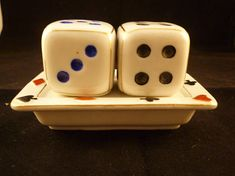 Roll the Dice Vintage Salt Pepper Shaker Dice Tray with Dice