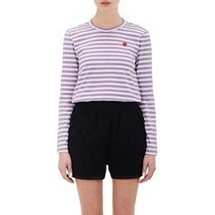 Comme des Garçons PLAY Women's Striped T-Shirt ($130) ❤ liked on Polyvore featuring tops, t-shirts, long sleeve crew neck t shirt, heart t shirt, stripe t shirt, long sleeve cotton tees and crew neck t shirt
